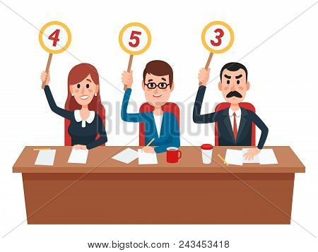 Jury. Judges Group Show Scorecards With Assessment Opinion Or Score. Judge People On Quiz Show, Coll