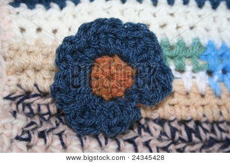 Blue Crochet Flower