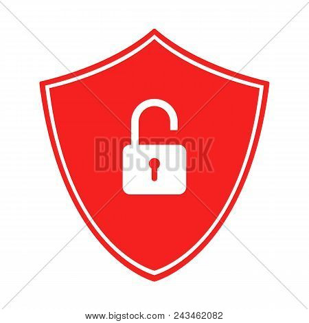 Red Shield With Open Padlock. Unsecured Connection Symbol. Vector Icon.