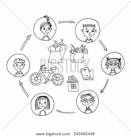 Sharing Economy And Smart Consumption Concept. Vector Illustration In Cartoon Style. People Save Mon