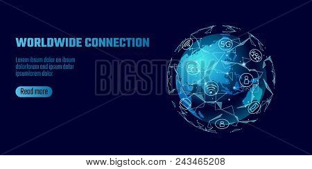 Global Network Connection. World Map Asia Continent Point Line Worldwide Information Technology Dat