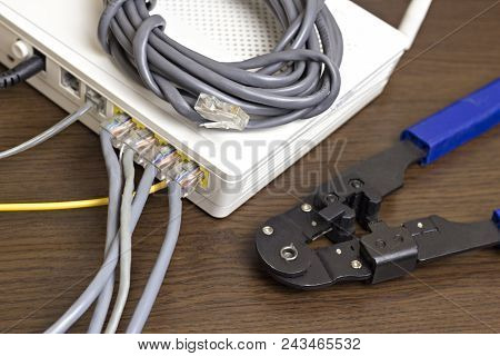 Modem, network cable and crimper for crimping chips poster