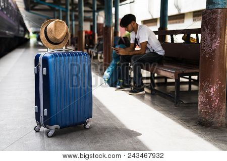 Luggage At Train Station, Luggage Consisting Of Suitcases Rucksacks, Travel Bag, Backpack And Hat At