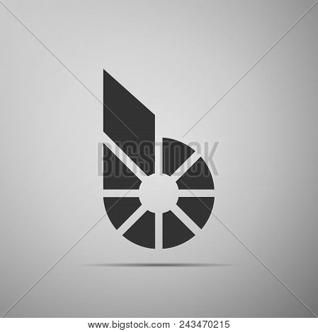 Cryptocurrency Coin Bitshares Bts Icon Isolated On Grey Background. Physical Bit Coin. Digital Curre