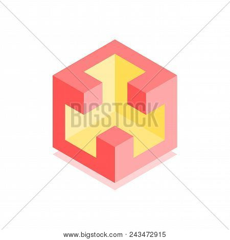 Abstract Cubic Icon. Isometric Illustration For Covers Design In Flat 3d Style. Vector Geometric Log