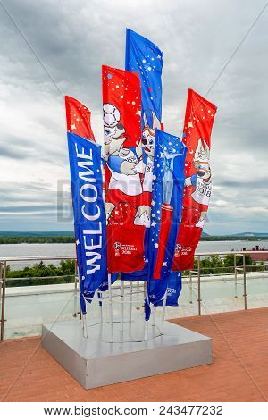 Samara, Russia - June 2, 2018: Flags With Official Mascot Of 2018 Fifa World Cup At The Glory Square