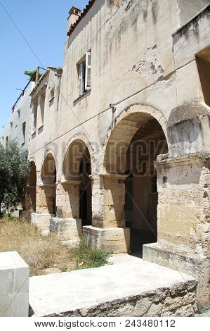 Arches Of The Building Of The Former Monastery Of St. Nicholas In Crete In Chania, Founded By The Do