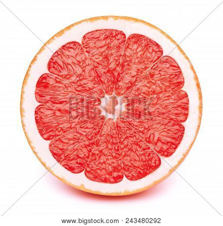 Perfectly Retouched Sliced Half Of Grapefruit Isolated On The White Background With Clipping Path. O