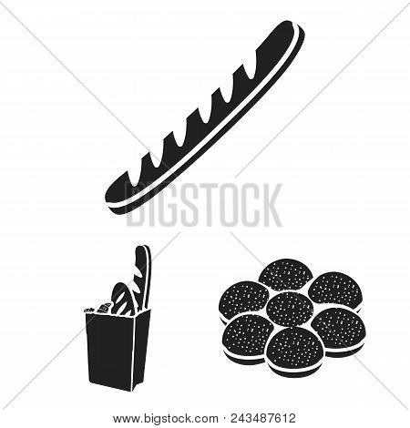 Types Of Bread Black Icons In Set Collection For Design. Bakery Products Vector Symbol Stock  Illust