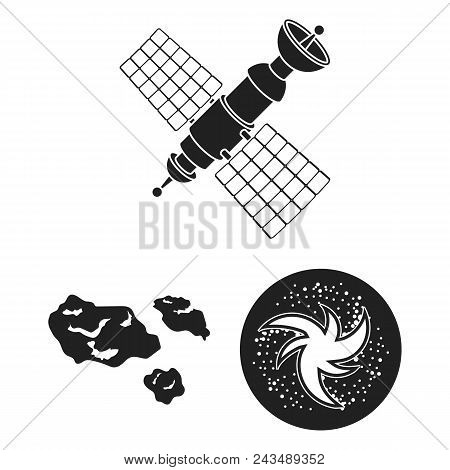 Space Technology Black Icons In Set Collection For Design.spacecraft And Equipment Vector Symbol Sto