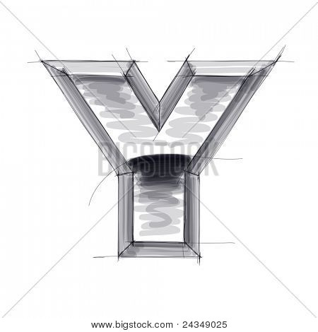 3d metal letters sketch - Y. Bitmap copy my vector