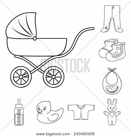 Birth Of A Baby Outline Icons In Set Collection For Design. Newborn And Accessories Vector Symbol St