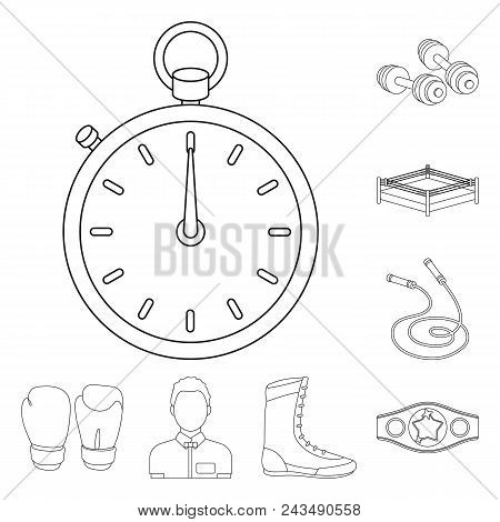 Boxing Extreme Sports Outline Icons In Set Collection For Design. Boxer And Attributes Vector Symbol