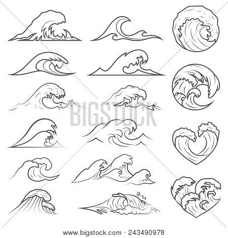 Ocean Waves Vector Set. Sea Storm Wave Isolated. Waves, Water Elements Set. Nature Wave Water Storm