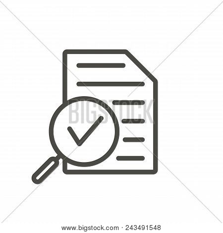Review Icon Vector. Line Research Symbol Isolated. Trendy Flat Outline Ui Sign Design. Thin Linear R