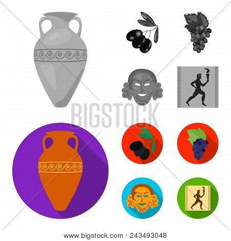 Greece, Olive, Branch, Vase .greece Set Collection Icons In Monochrome, Flat Style Vector Symbol Sto