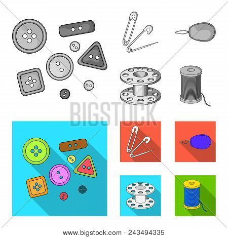 Buttons, Pins, Coil And Thread.sewing Or Tailoring Tools Set Collection Icons In Monochrome, Flat St