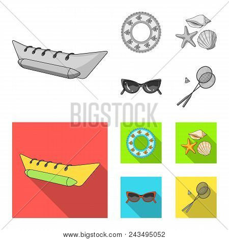 Water Attraction, Seashells, Goggles.summer Vacation Set Collection Icons In Monochrome, Flat Style
