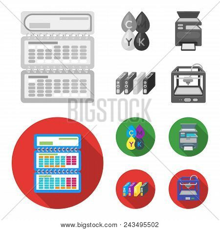 Calendar, Drops Of Paint, Cartridge, Multifunction Printer. Typography Set Collection Icons In Monoc