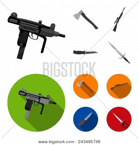 Ax, Automatic, Sniper Rifle, Combat Knife. Weapons Set Collection Icons In Monochrome, Flat Style Ve