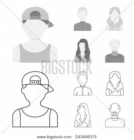 Boy Blond, Bald Man, Girl With Tails, Woman.avatar Set Collection Icons In Outline, Monochrome Style