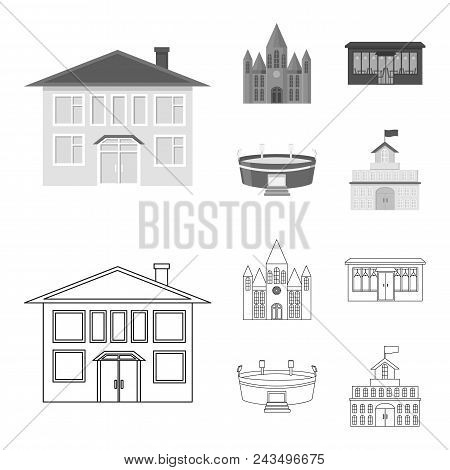 House Of Government, Stadium, Cafe, Church.building Set Collection Icons In Outline, Monochrome Styl