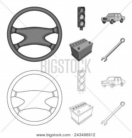 Traffic Light, Old Car, Battery, Wrench, Car Set Collection Icons In Outline, Monochrome Style Vecto