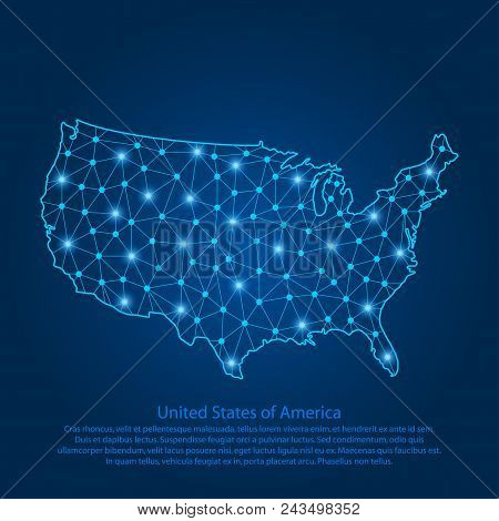 Abstract Map Of The Usa Created From Lines, Bright Points And Polygons In The Form Of Starry Sky, Sp