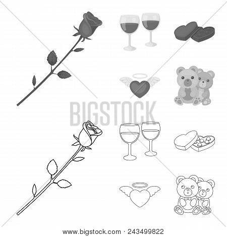 Glasses With Wine, Chocolate Hearts, Bears, Valentine.romantik Set Collection Icons In Outline, Mono