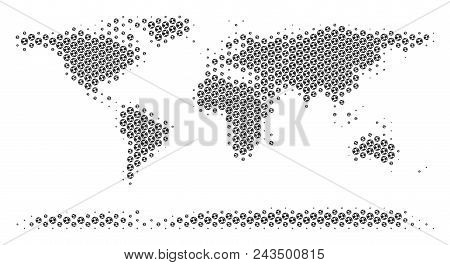 Football Ball World Continent Map. Vector Territorial Plan In Gray Color. Abstract World Continent M