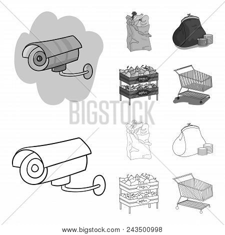 Sausages, Fruit, Cart .supermarket Set Collection Icons In Outline, Monochrome Style Vector Symbol S