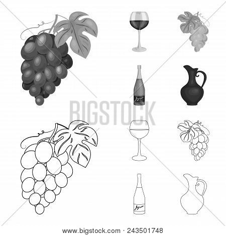 A Glass Of Red Wine, Champagne, A Jug Of Wine, A Bunch. Wine Production Set Collection Icons In Outl