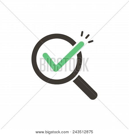 Magnifying Glass With Green Check Tick. Vector Icon Illustration Design. For Concepts Of Research, R
