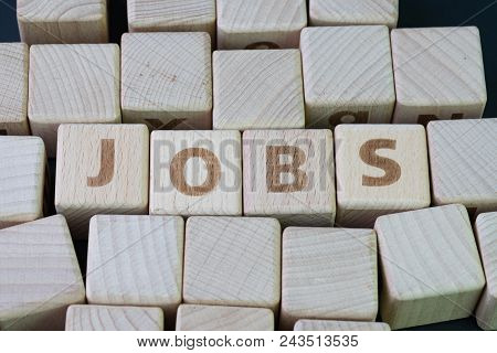 Job Recruitment, Career Vacancy Or Hiring Position In The Company Concept, Cube Wooden Block With Al