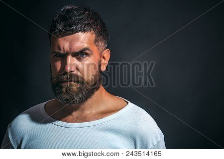 Sexy Look Of Male Model Man. Stylish Hipster Brutal Man With Beard, Mustache, Beautiful Hairstyle. B