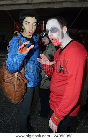 People Attending The Annual Zombie Walk London 8Th October 2011