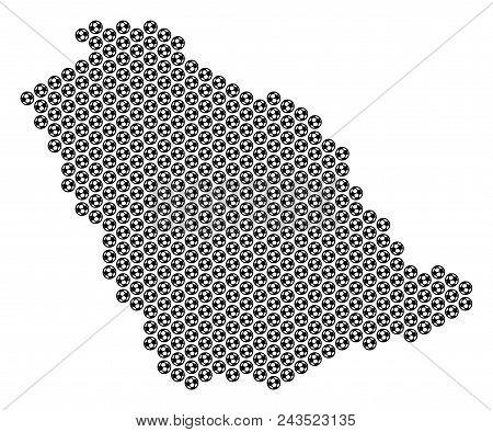 Football Ball Saudi Arabia Map. Vector Territorial Scheme On A White Background. Abstract Saudi Arab