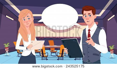 Two Business Person Chat Communication, Businesspeople Discussing Communication Social Network Flat