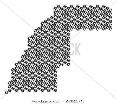 Football Ball Western Sahara Map. Vector Geographic Plan On A White Background. Abstract Western Sah