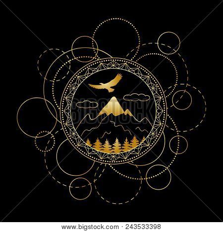Abstract Techno Pattern With Gold Mountains, Trees And Eagle On Black Background. Modern Tattoo, Lux