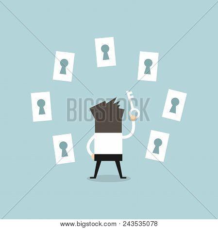 Businessman Choosing The Right Keyhole. Vector Illustration