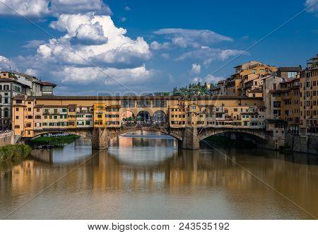 Ponte Vecchio (old Bridge) In Florence, Tuscany, Italy. This Medieval Stone Bridge, That Spans River