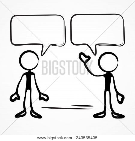 Business Meeting, Stick Figures With Dialog Speech Bubbles On White. Vector Illustration.