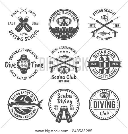 Scuba Diving And Spearfishing, Diving School Or Diving Club Set Of Vector Monochrome Labels, Badges,