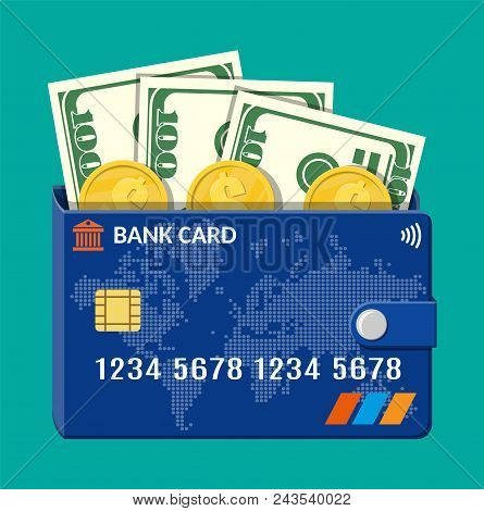 Bank Card Wallet With Dollar Banknotes And Gold Coins, Credit Card Template. World Map On Blue Backg