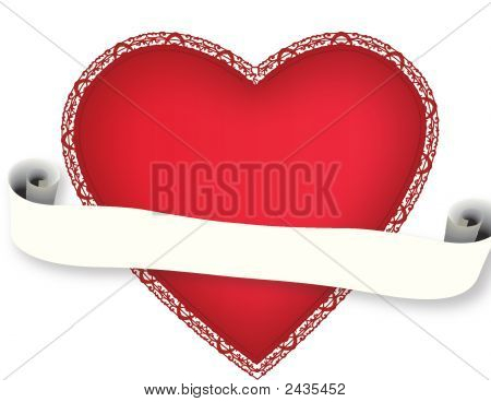 Saint Valentines Day Heart With Scroll-Type Banner
