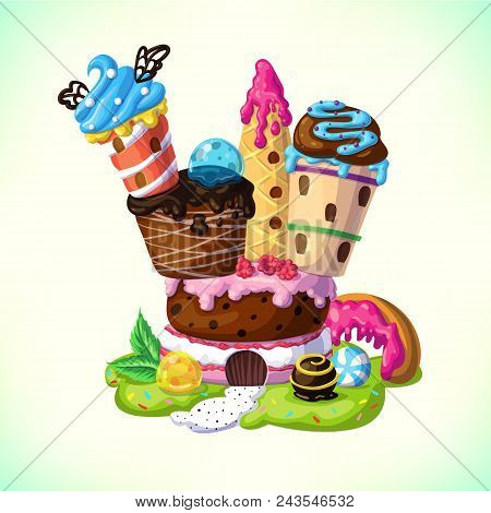 Sweet Candy Castle. A Fairytale Castle With Towers Of Cakes And Ice Cream. Cartoon Vector Illustrati