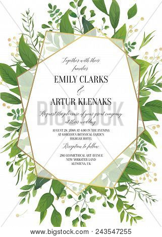 Wedding Invitation, Floral Vector Invite Save The Date Modern Card Design: Greenery Leaves, Forest G
