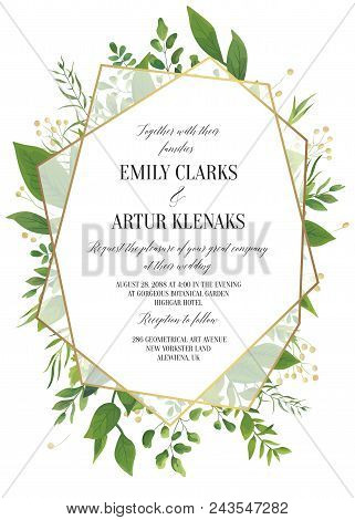 Wedding Invitation, Floral Invite Save The Date Modern Card Design: Greenery Leaves, Forest Greenery