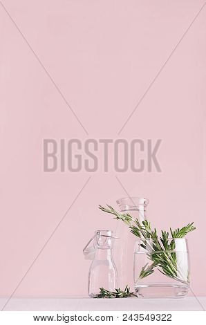 Modern Simple Art Pink Home Decor With Green Plant In Transparent Vases On Soft Light White Wood Tab